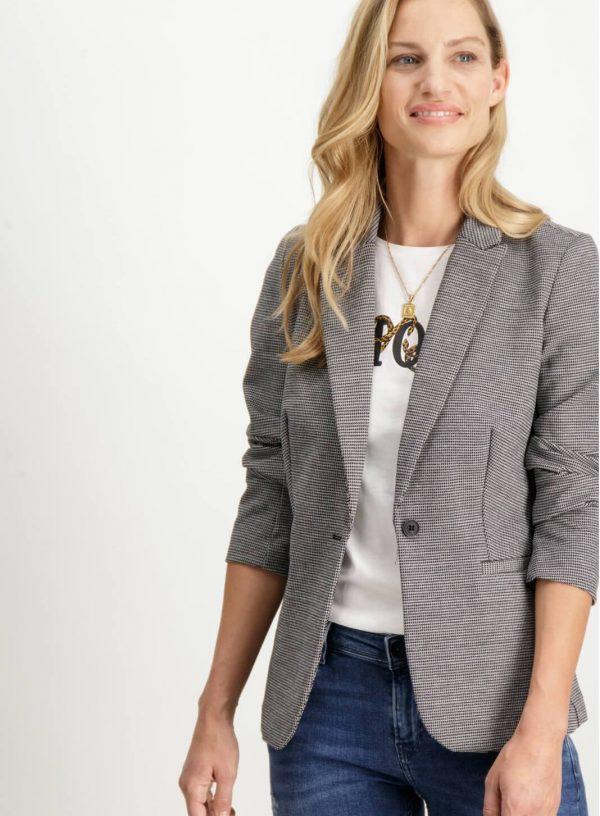 Frente de casaco de xadrez com botão para mulher da Garcia Jeans