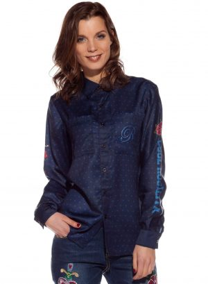 Camisa azul escura com bolas da Rosalita McGee