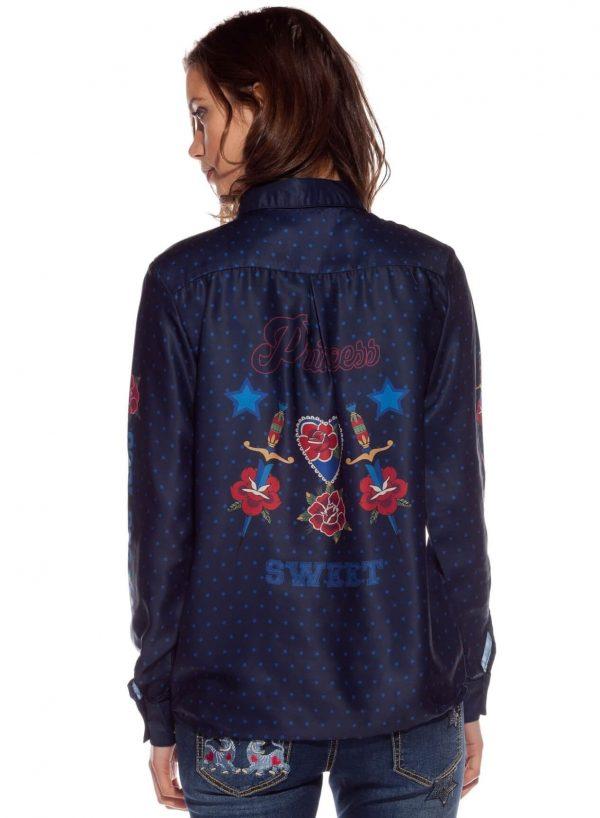 Costas da camisa azul escura com bolas da Rosalita McGee