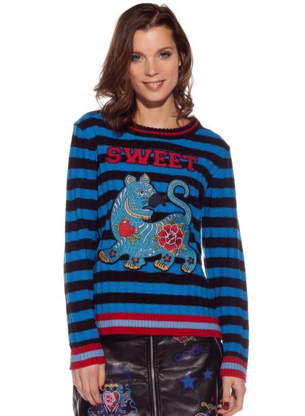 Camisola de malha às riscas com animal bordado da Rosalita McGee