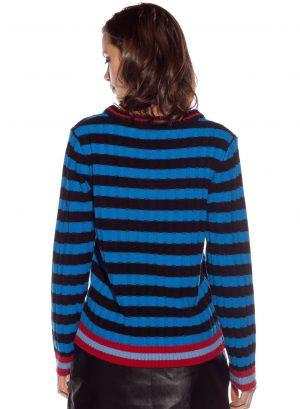Costas da camisola de malha às riscas com animal bordado da Rosalita McGee