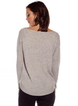 Costas da camisola de malha cinza com estampa da Rosalita McGee