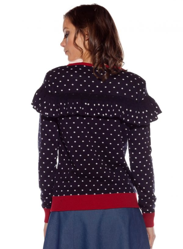 Costas da camisola de malha com flor bordada da Rosita McGee