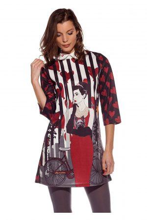 Vestido / túnica estampado em tons de vermelho com manga 3/4 da Rosalita