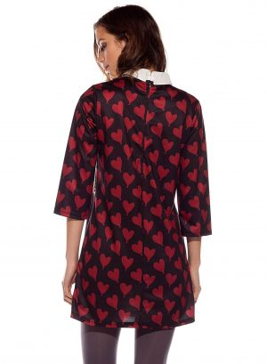 Costas de vestido / túnica estampado em tons de vermelho com manga 3/4 da Rosalita