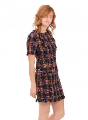 Vestido em xadrez chanel com paletas da Minueto