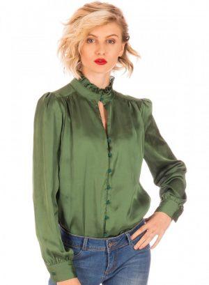 Frente camisa verde com franzidos para mulher da Minueto