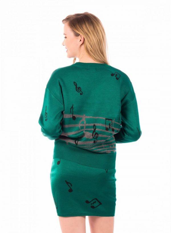 Costas do conjunto camisola e saia musical da Minueto
