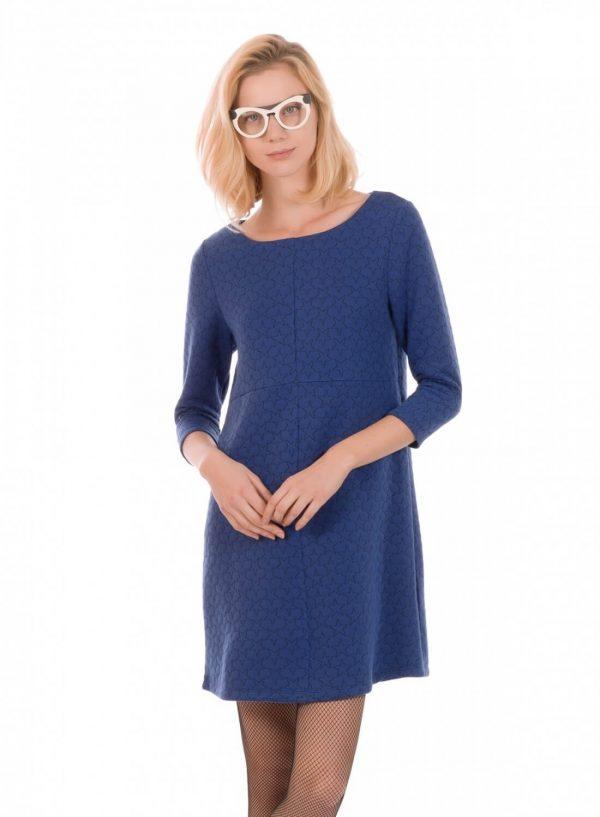 Frente de vestido de malha azul com estrelas bordadas, de manga comprida, da Minueto