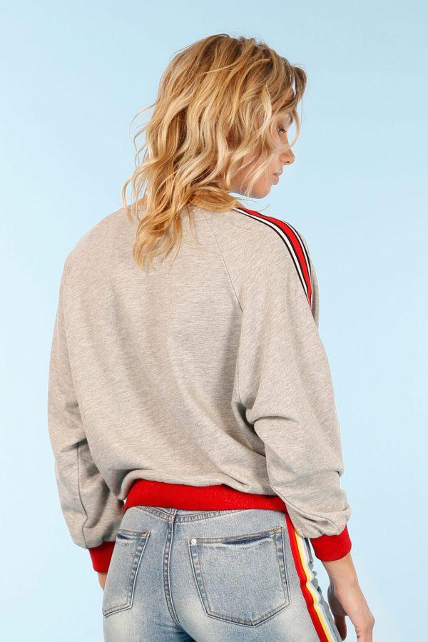 Sweatshirt cinza com barra na manga da Minueto