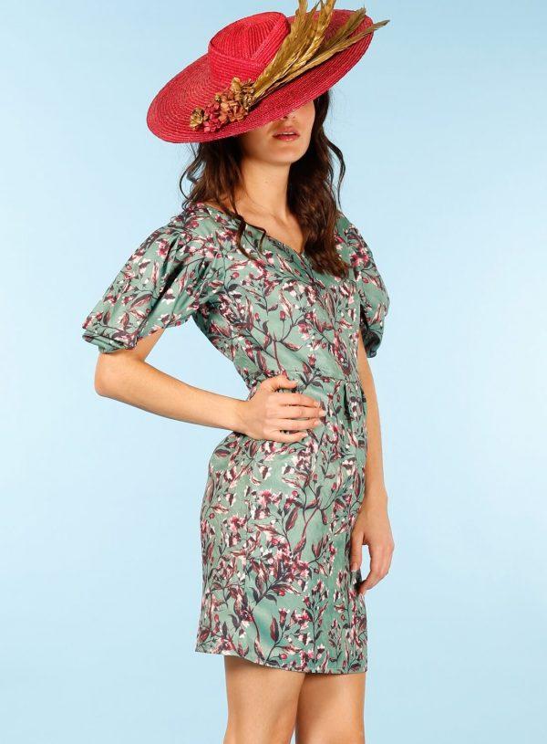 Vestido print floral com manga franzida da Minueto