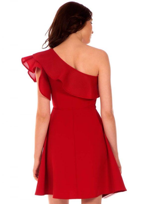 Vestido vermelho assimétrico da Minueto