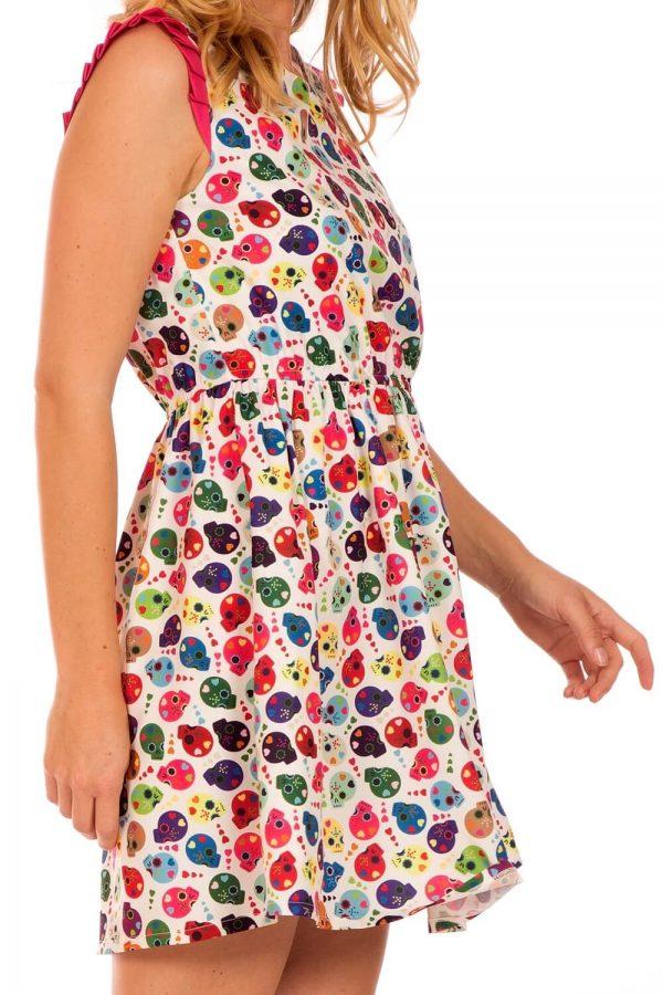 Vestido com print caveiras da Minueto