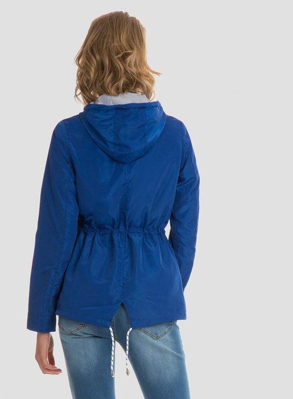 Parka azulão com capuz e cordões para mulher da Tiffosi