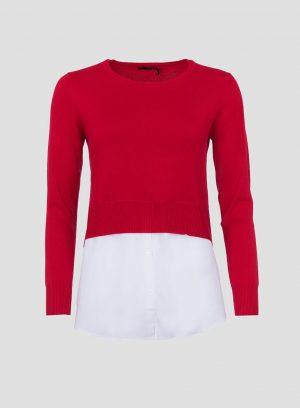 Camisola vermelha combinada para mulher da Tiffosi