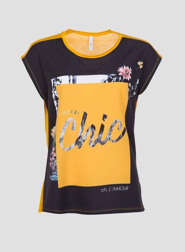 T´shirt amarela combinada com estampado na frente para mulher da Tiffosi