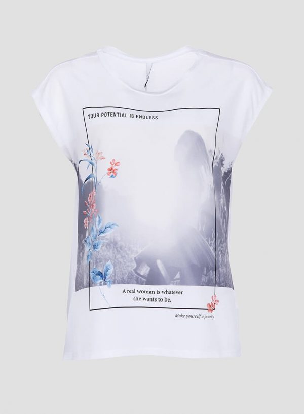 T´shirt branca combinada com estampado na frente para mulher da Tiffosi