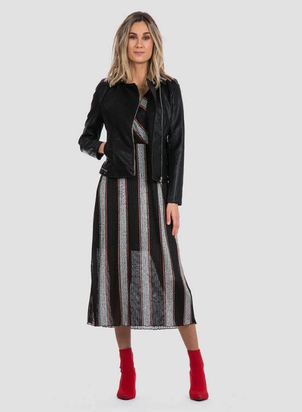 Blusão traçado de napa preta para mulher da Tiffosi