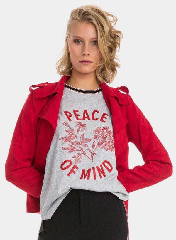 Blusão em suede vermelho para mulher da Tiffosi