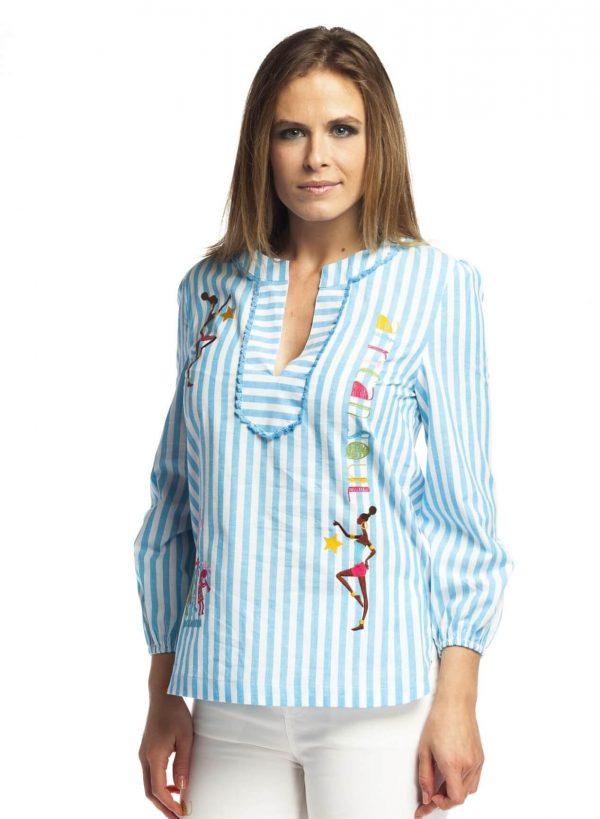 Blusa com riscas azul e bordados para mulher da Rosalita McGee