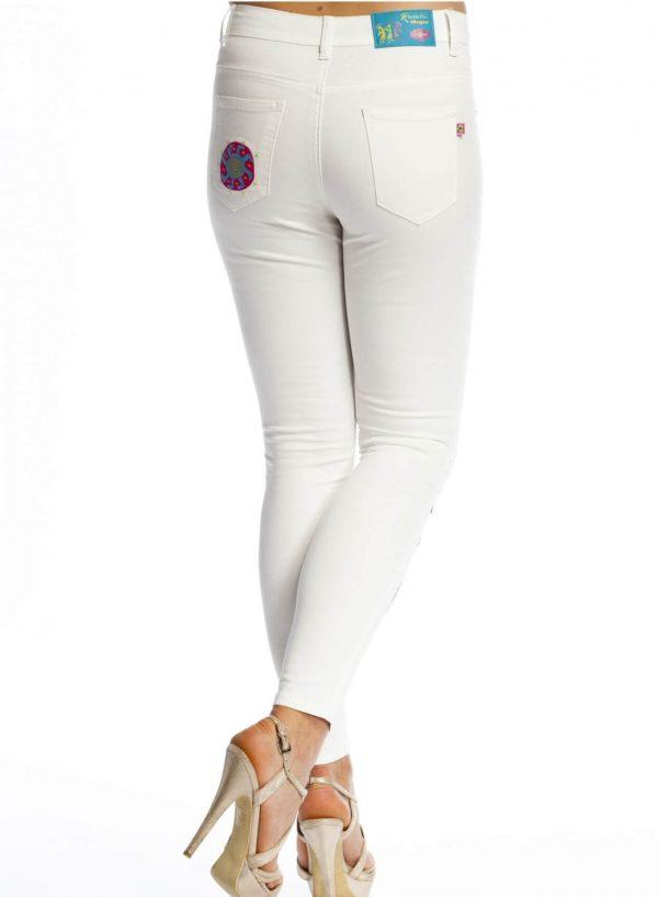 Jeans skinny brancas bordadas para mulher da Rosalita Mc Gee