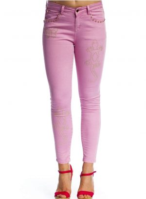Jeans fucsia skinny com tachas para mulher da Rosalita Mc Gee