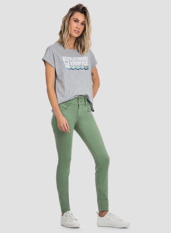 Calças sarja double up verdes para mulher da Tiffosi