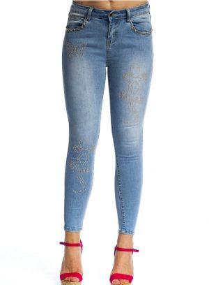 Jeans skinny com tachas para mulher da Rosalita Mc Gee