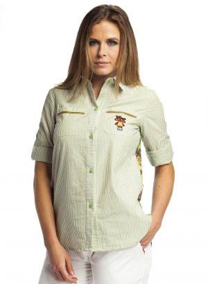 Camisa de risca com print na costa para mulher da Rosalita Mc Gee