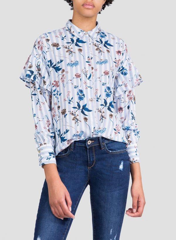 Camisa print floral/risca com folho da Tiffosi