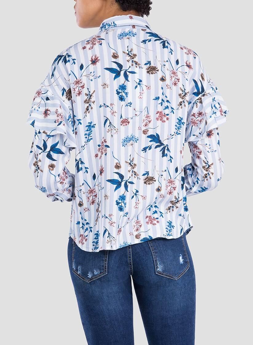 70f20e24cd ... Camisa print floral risca com folho da Tiffosi