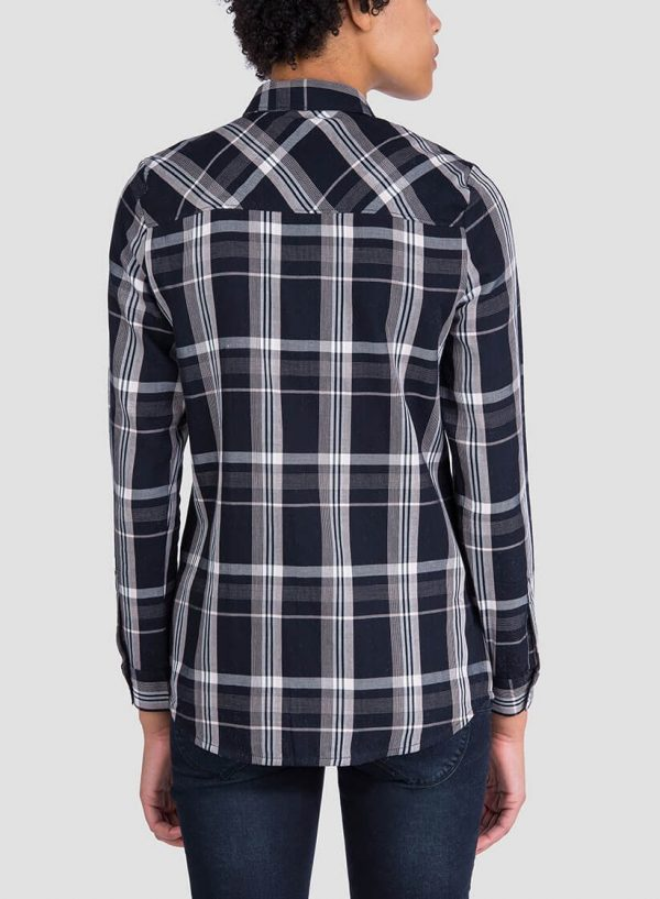Camisa de xadrez preto para mulher da Tiffosi