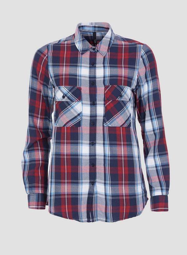Camisa de xadrez vermelho e azul para mulher da Tiffosi