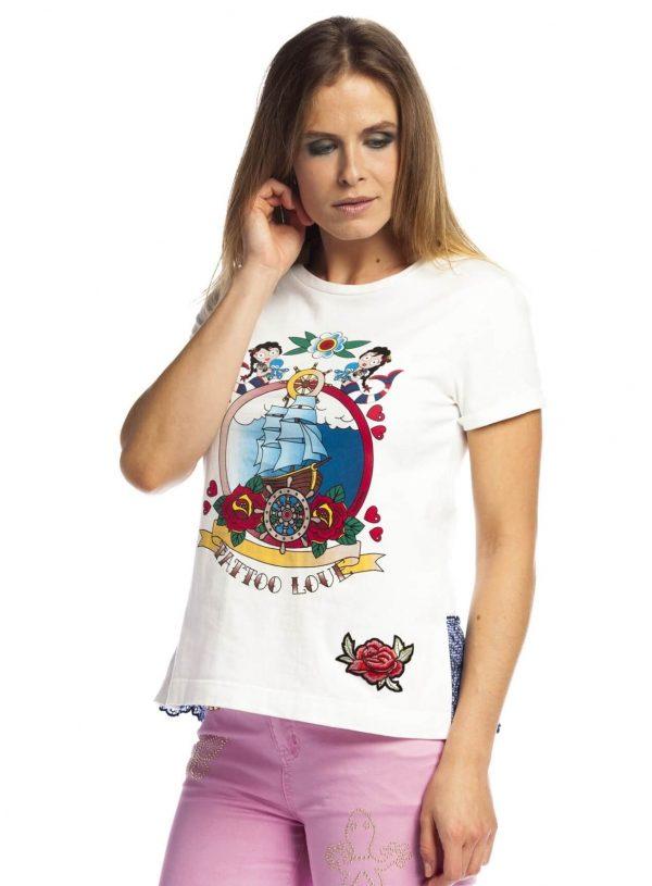 T-shirt com estampa à frente e aba para mulher da Rosalita Mc Gee
