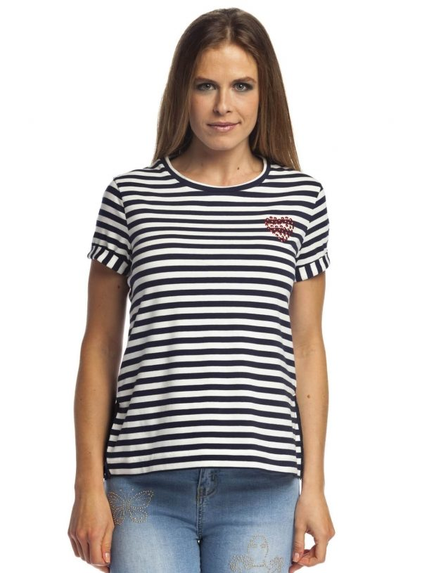 T-shirt às riscas com aba para mulher da Rosalita Mc Gee