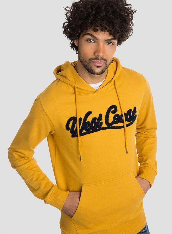 Hoodie amarelo texto relevo para homem da Tiffosi