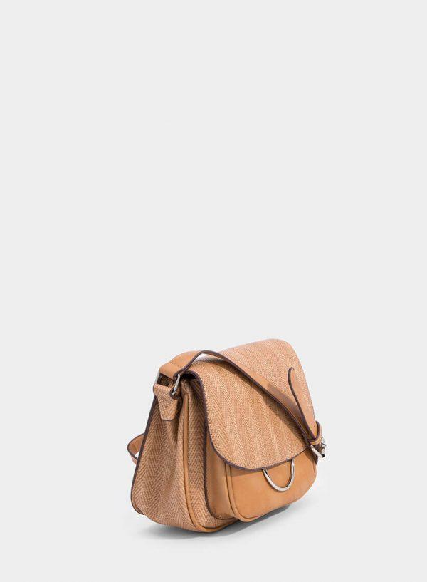 Carteira camel a tira-colo com argola metálica da Tiffosi