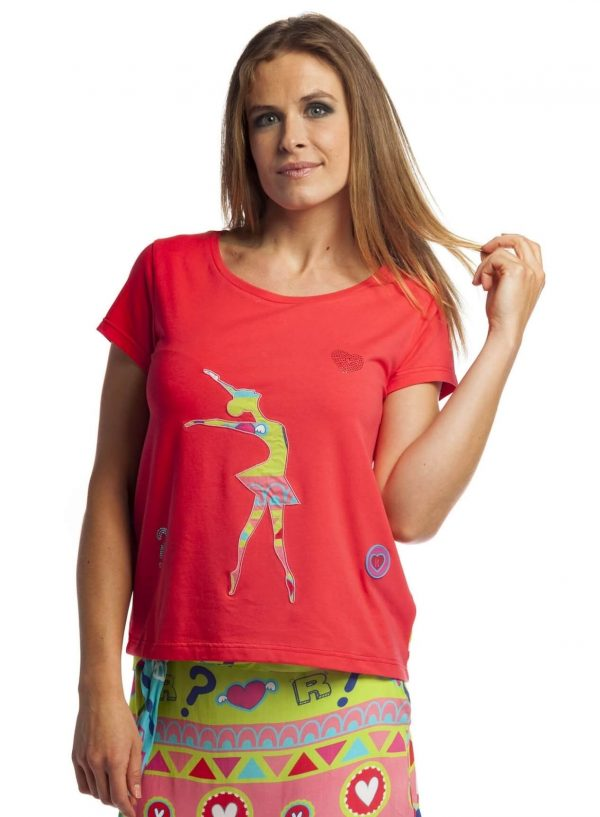T-shirt com strass e costas estampadas para mulher da Rosalita Mc Gee