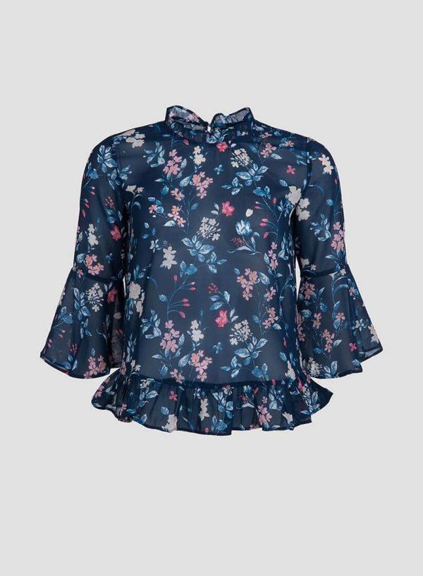 Blusa estampado floral com folhos da Tiffosi
