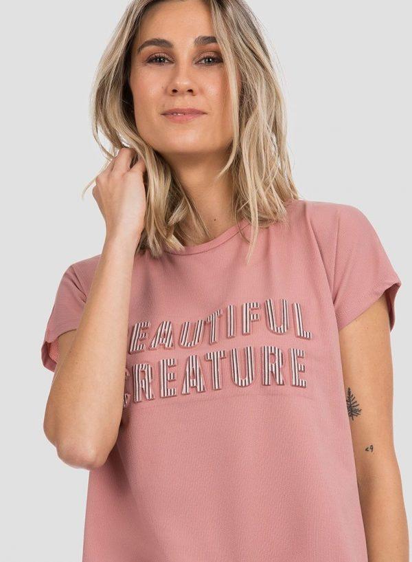 T´shirt rosa com texto relevo para mulher da Tiffosi