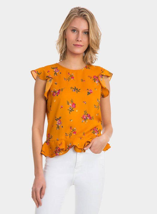Tope amarelo com print floral e folho da Tiffosi