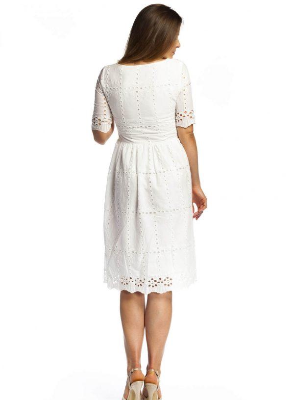 Vestido branco bordado e perfurado da Rosalita Mc Gee