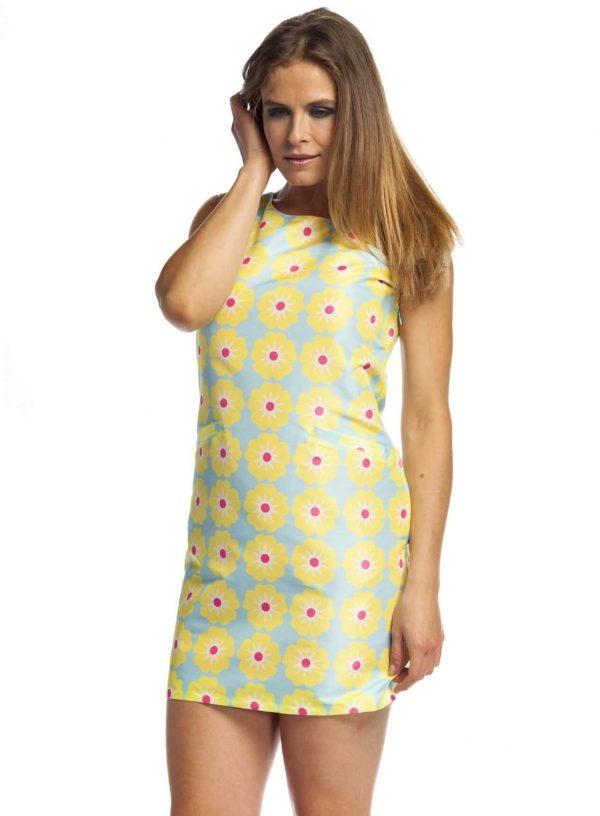 Vestido curto com print floral retro da Roslaita Mc Gee