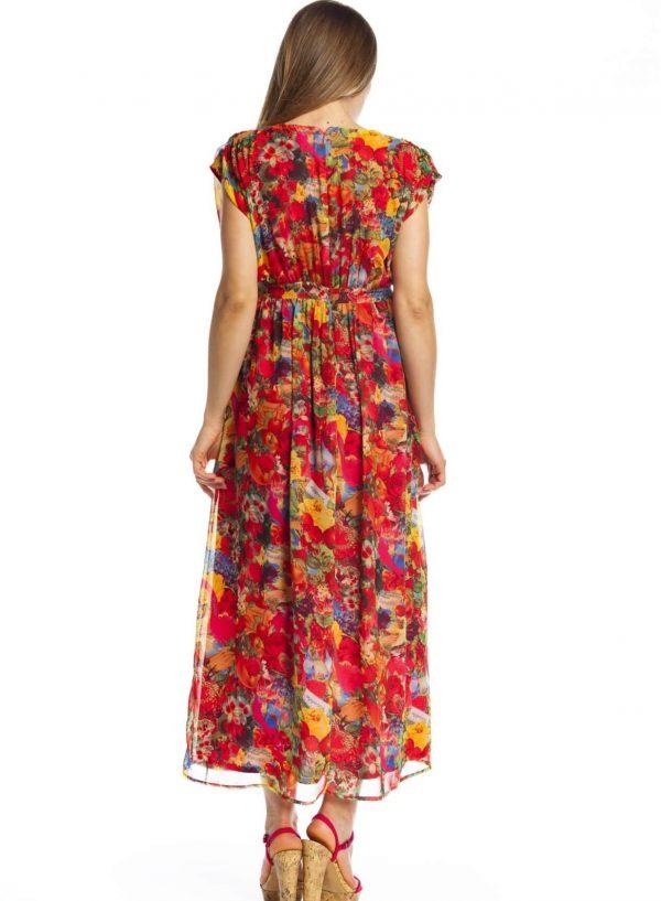 Vestido comprido com print floral da Rosalita Mc Gee