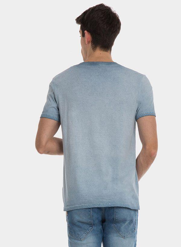 T-shirt azul com lavagem e texto para homem da Tiffosi