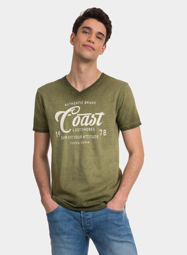 T-shirt verde com lavagem e texto para homem da Tiffosi