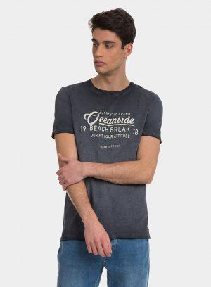 T-shirt azul escuro com lavagem e texto para homem da Tiffosi