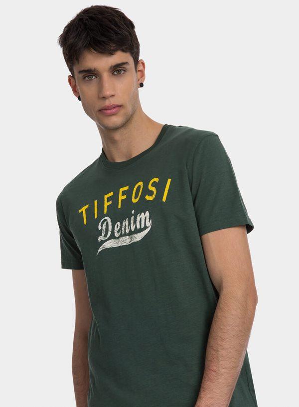 T-shirt verde com texto amarelo para homem da Tiffosi