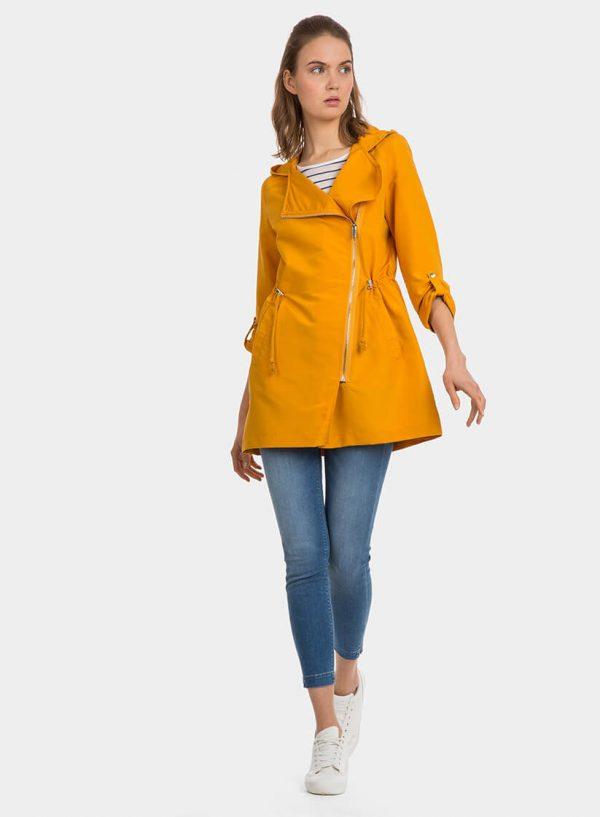 Parka amarela com capuz e fecho para mulher da Tiffosi
