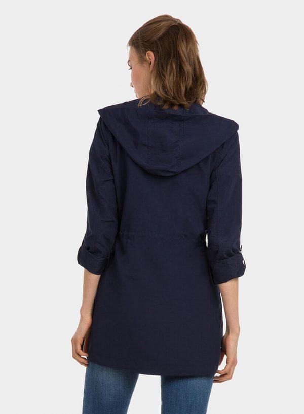 Parka azul com capuz e fecho para mulher da Tiffosi